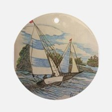 Hand Drawn Sailboats Ornament (Round)