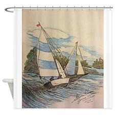 Hand Drawn Sailboats Shower Curtain