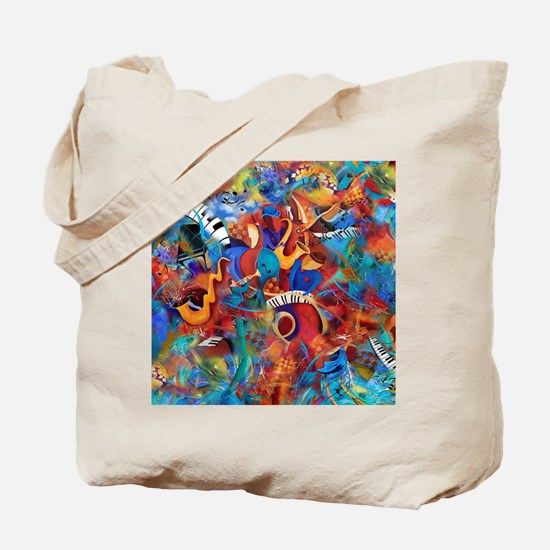 Music Trio Curvy Piano Colorful Abstract  Tote Bag