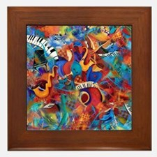 Music Trio Curvy Piano Colorful Abstra Framed Tile