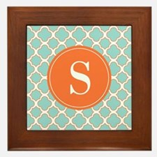 Quatrefoil Turquoise White Orange with Monogram Fr
