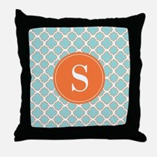 Quatrefoil Turquoise White Orange with Monogram Th