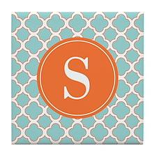 Quatrefoil Turquoise White Orange with Monogram Ti