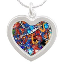 Crazy Colorful Music Madness Silver Heart Necklace