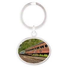Classic Train Cars Oval Keychain