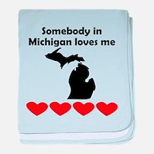 Somebody in Michigan Loves Me baby blanket