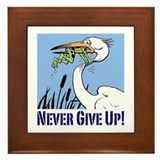 Never give up frog Framed Tiles