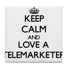 Keep Calm and Love a Telemarketer Tile Coaster