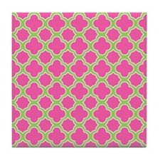 Quatrefoil Pattern Pink and Lime Green Tile Coaste