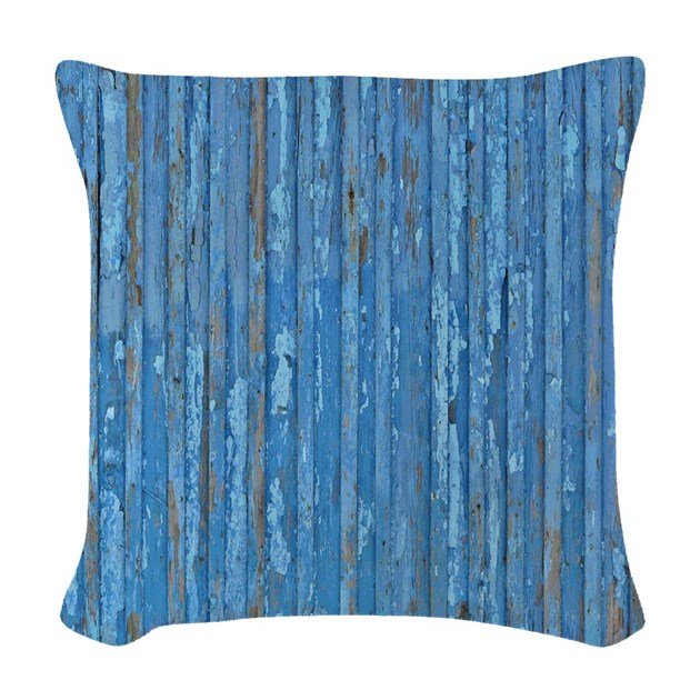 Rustic Old Blue Paint Woven Throw Pillow by rebeccakorpita
