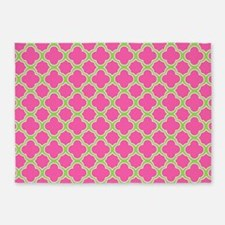 Quatrefoil Pink and Lime Green 5'x7'Area Rug