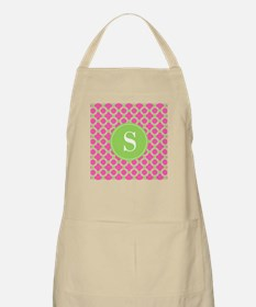 Quatrefoil Pink and Lime Green with Monogram Apron