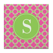 Quatrefoil Pink and Lime Green with Monogram Tile
