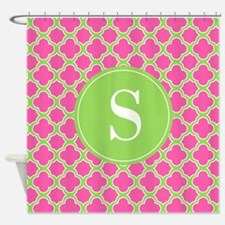 Quatrefoil Pink and Lime Green with Monogram Showe