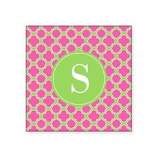 Quatrefoil Pink and Lime Green with Monogram Stick