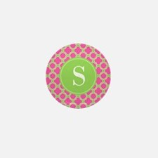 Quatrefoil Pink and Lime Green with Monogram Mini