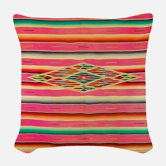 Vintage Pink Mexican Serape Woven Throw Pillow
