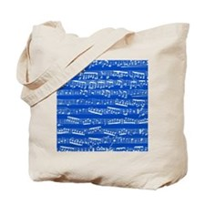 Blue Music Notes Tote Bag