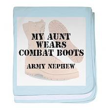 Army Nephew Aunt wears DCB baby blanket