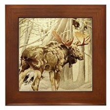 Vintage Woodland Moose Framed Tile