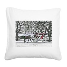 Horse Drawn Carriage in NYC Square Canvas Pillow