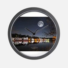 Cold Winters Night on Boathouse Row Wall Clock