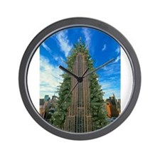 Empire State Building Christmas Tree Wall Clock
