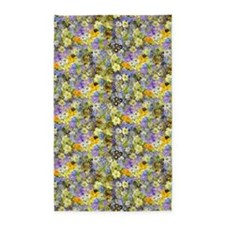 Purple And Yellow Spring Flowers 3'X5' Area Rug