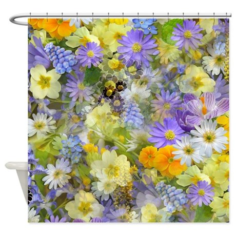 Purple And Yellow Spring Flowers Shower Curtain By GraphicAllusions
