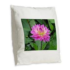 Purple Yellow Dahlia Burlap Throw Pillow