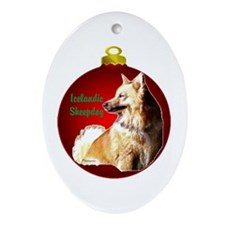 Icelandic Sheepdog christmas Ornament (Oval)