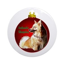 Icelandic Sheepdog christmas Ornament (Round)