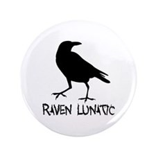 "Raven Lunatic - Halloween 3.5"" Button (100 pack)"