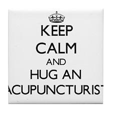 Keep Calm and Hug an Acupuncturist Tile Coaster