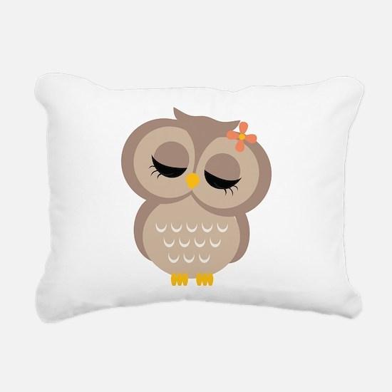 Single Girl Owl Rectangular Canvas Pillow