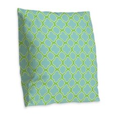 Quatrefoil Pattern Aqua Blue and Green Burlap Thro