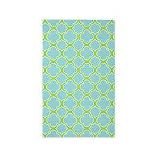 Quatrefoil Pattern Aqua Blue and Green 3'x5' Area
