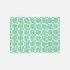Quatrefoil Aqua Blue and Green 5'x7'Area Rug