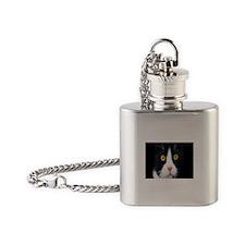 cat peace calm c Flask Necklace