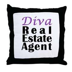 Diva Real estate Agent Throw Pillow