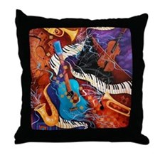 Colorful Throw Pillow Music Art Print Jazz Club