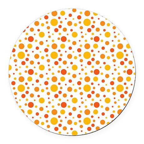 Orange Grove Dot Pattern Round Car Magnet