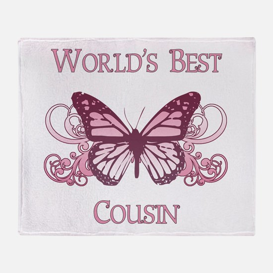 World's Best Cousin (Butterfly) Throw Blanket