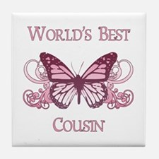 World's Best Cousin (Butterfly) Tile Coaster