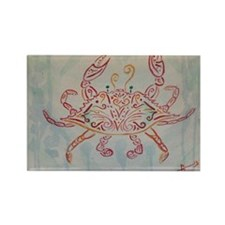 Blue crab in red Rectangle Magnet