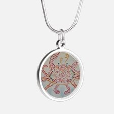 Blue crab in red Silver Round Necklace