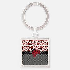 Ladybugs Square Keychain