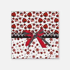 "Dancing Ladybugs Square Sticker 3"" x 3"""
