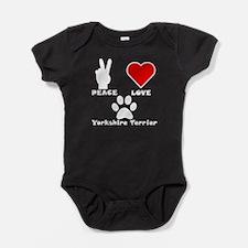Peace Love Yorkshire Terrier Baby Bodysuit