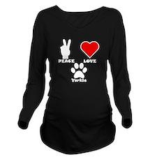 Peace Love Yorkie Long Sleeve Maternity T-Shirt